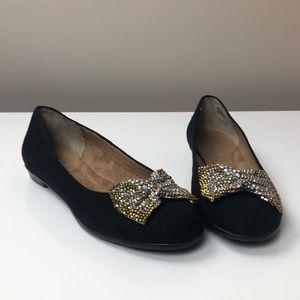 AEROSOLES Imbeccable Black Fabric Flat with Bow
